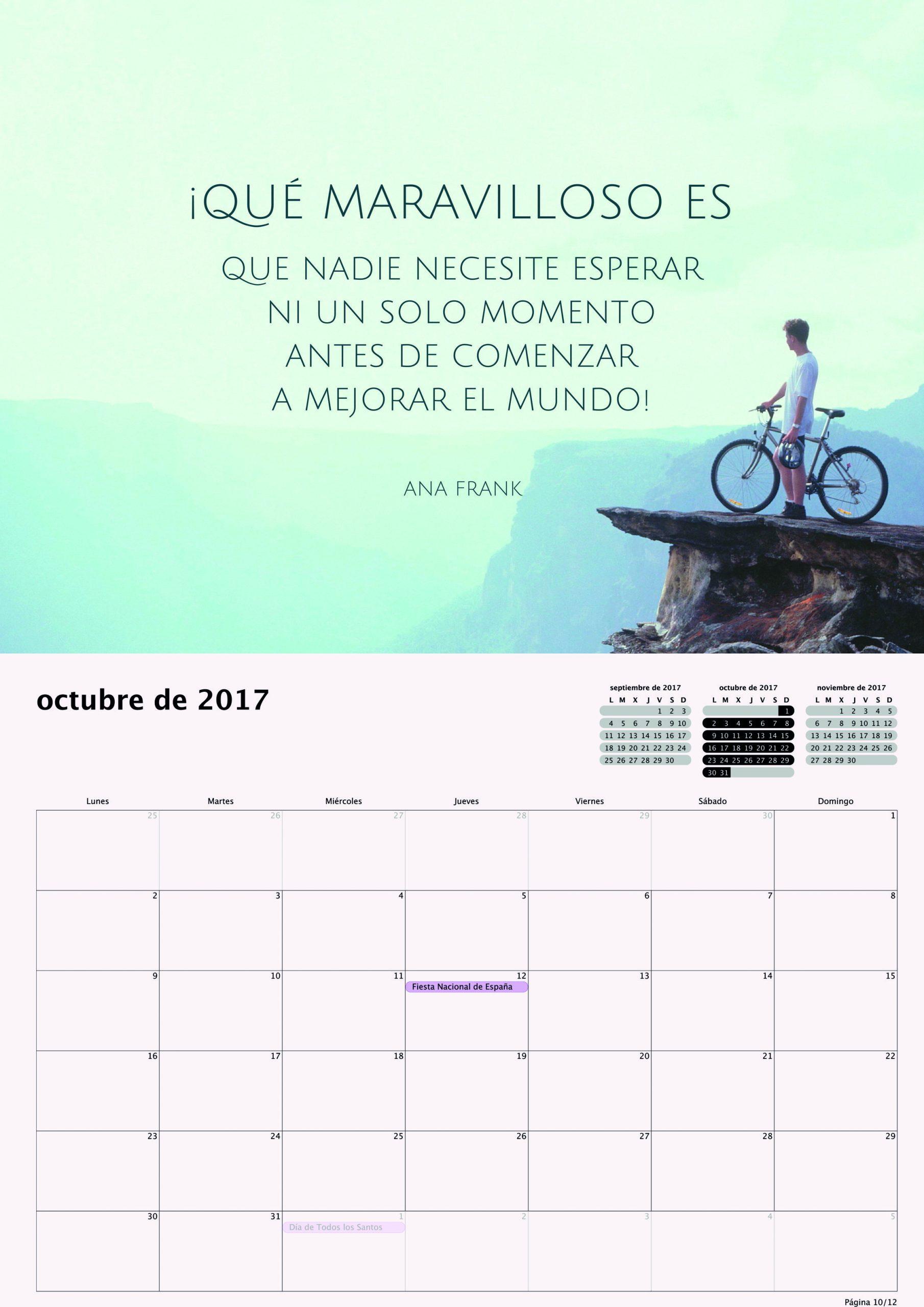 Calendario 2017 para Pequeños Saltamontes - Octubre