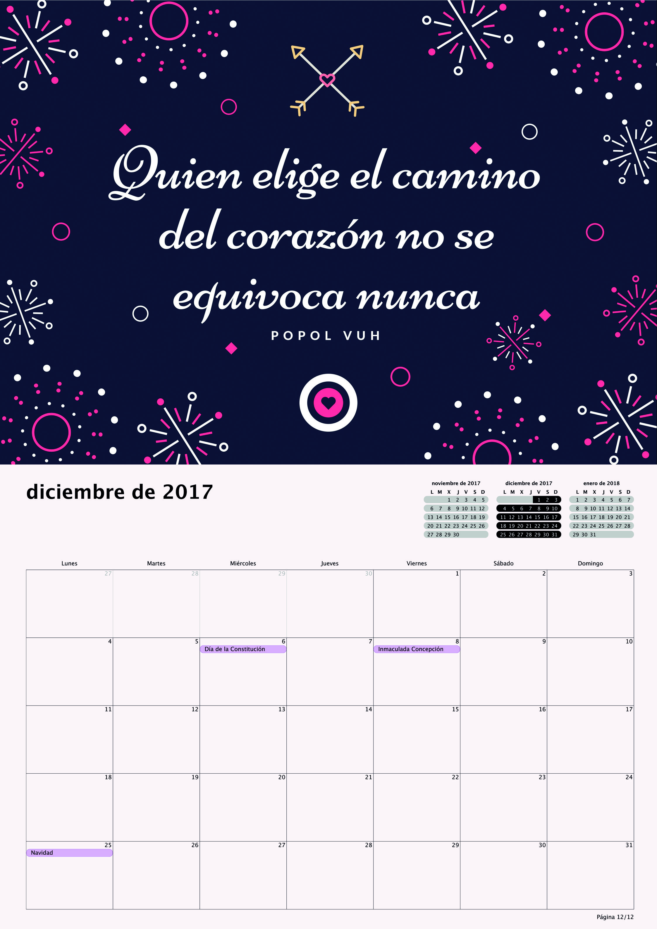Calendario 2017 para Pequeños Saltamontes - Diciembre