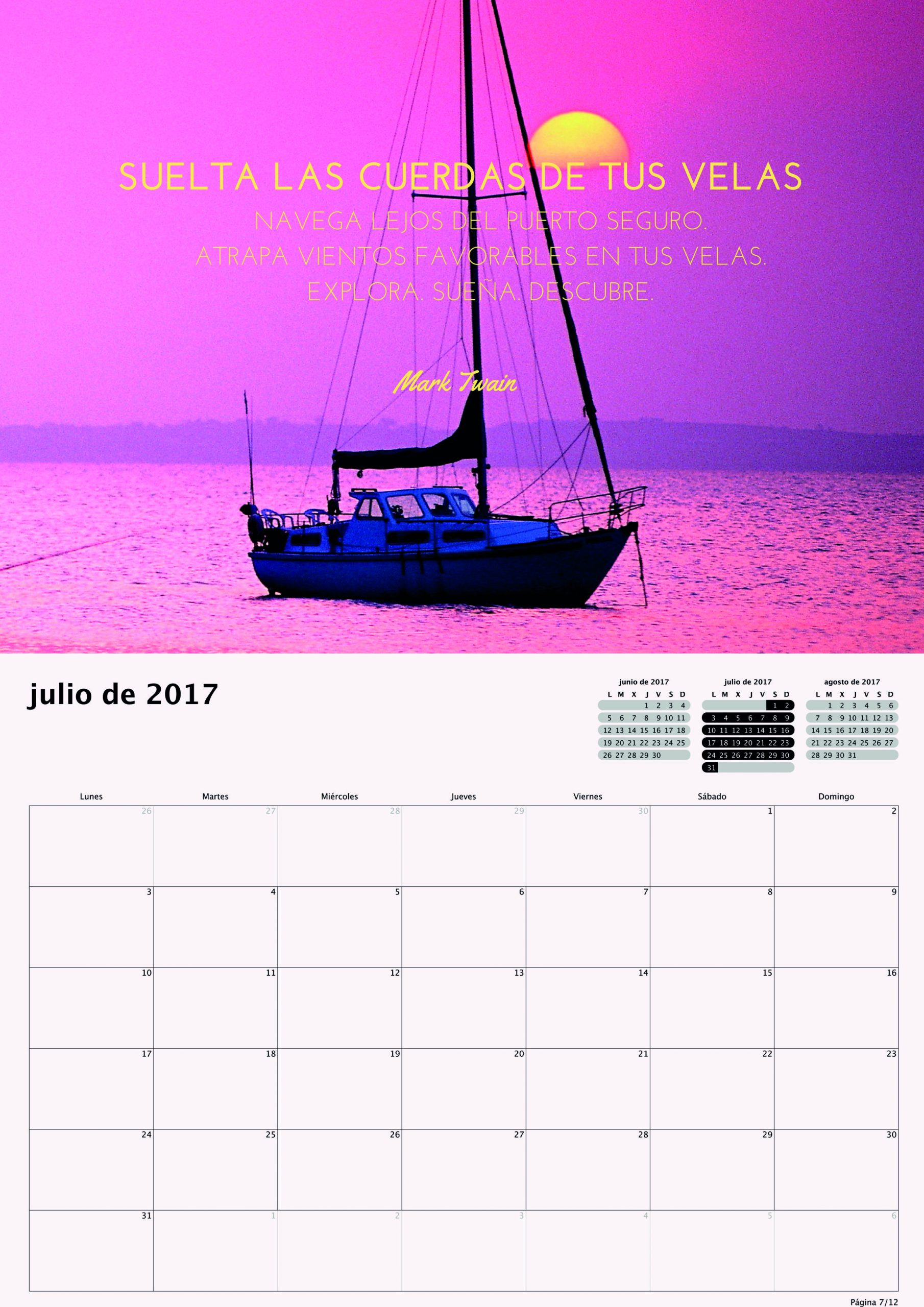 Calendario 2017 para Pequeños Saltamontes - julio