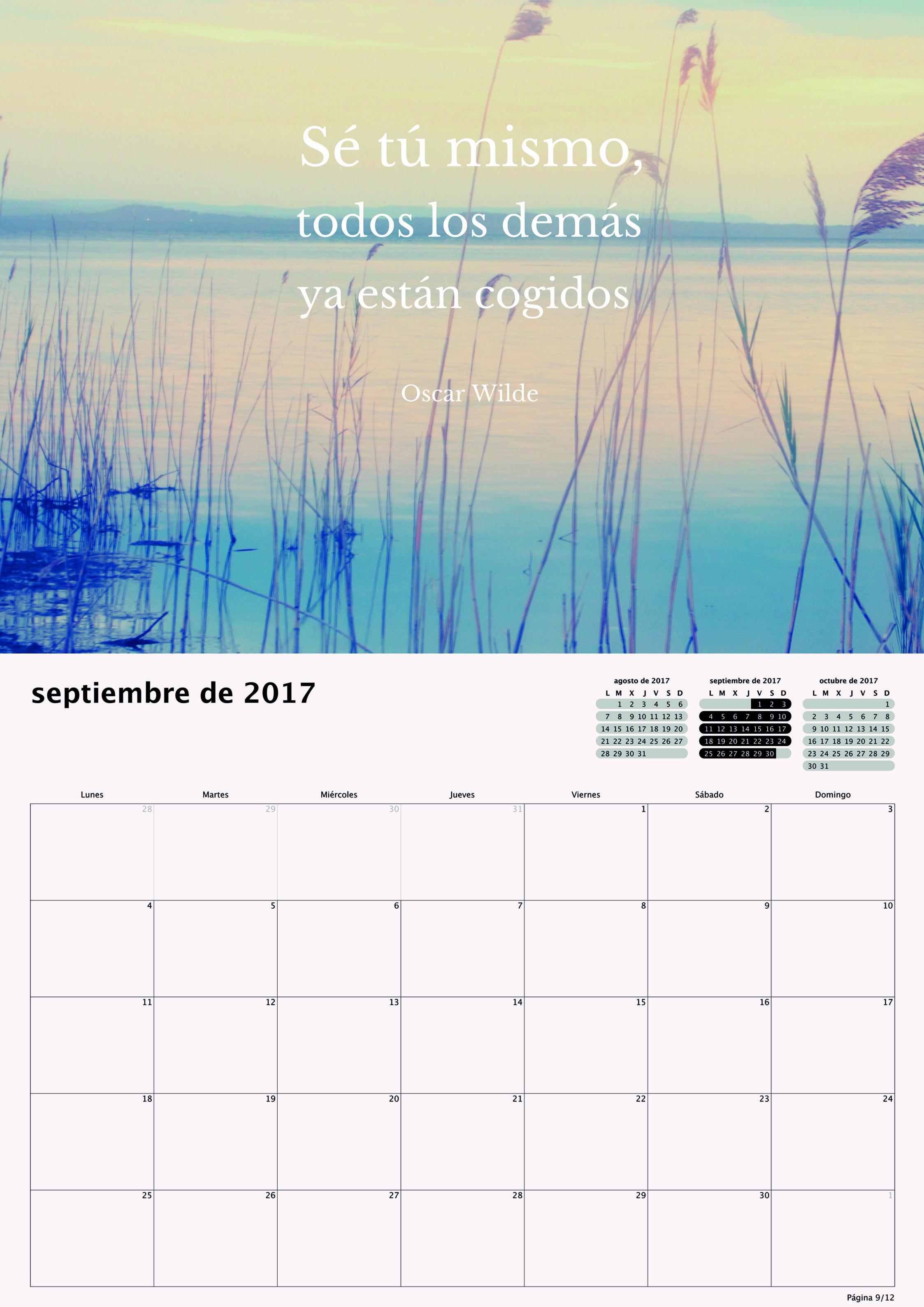 Calendario 2017 para Pequeños Saltamontes - Septiembre